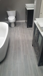 Bathroom floor, sink and tub remodeling